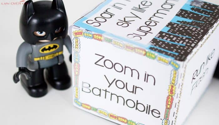 Roll this fun superhero action cube for a great gross motor activity!