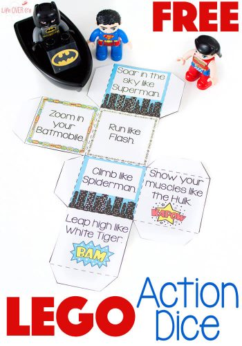 LEGO® and LEGO® DUPLO Superhero action game helps get kids moving!! This gross motor activity is fun for kids of all ages and is great for when you need the kids to burn off some energy!