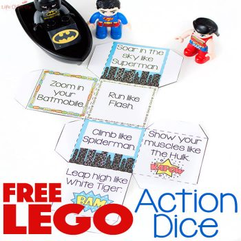 Get the kids up and moving with this fun free printable superhero action cube!
