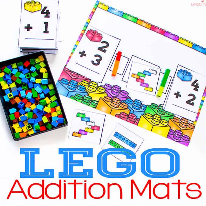 LEGO Addition Mat for Greater Than/Less Than Free Printable
