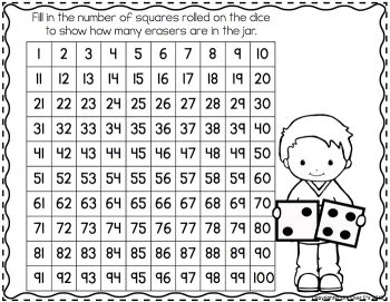 """Use this hundred chart with the """"Fill the Jar"""" Mini Eraser Counting Activity and learn to add up to 100."""