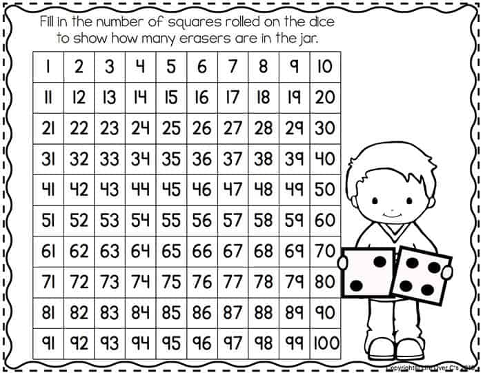 "Use this hundred chart with the ""Fill the Jar"" Mini Eraser Counting Activity and learn to add up to 100."