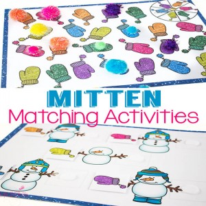 3 Mitten Matching Activities for Preschoolers. Learn about colors and making pairs with these fun games!