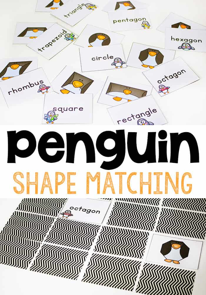 Free Printable Penguin Shape Matching Game