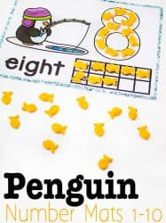 Penguin Number Mats for 1-10