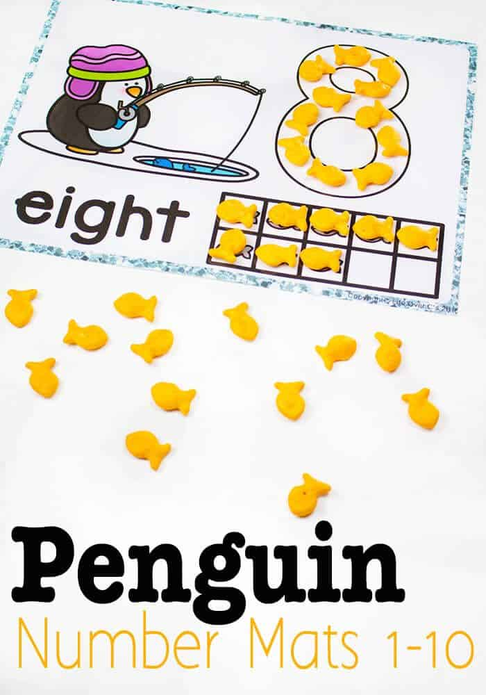 "These penguin number mats for 1-10 are so much fun when you use them with goldfish crackers! They are great for play dough too, but it's so fun to eat the ""fish"" with the penguins while learning numbers!"