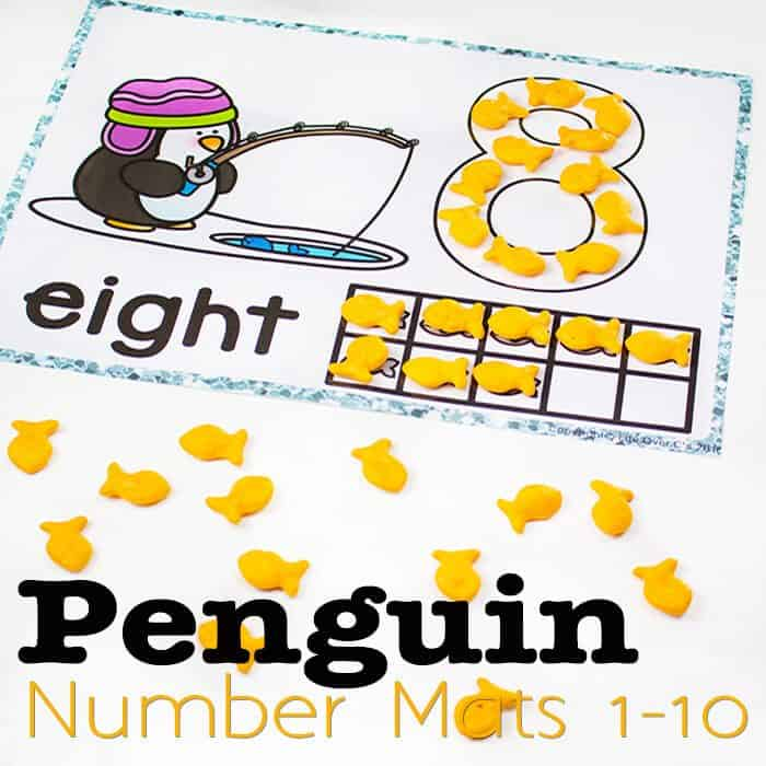 """These penguin number mats for 1-10 are so much fun when you use them with goldfish crackers! They are great for play dough too, but it's so fun to eat the """"fish"""" with the penguins while learning numbers!"""