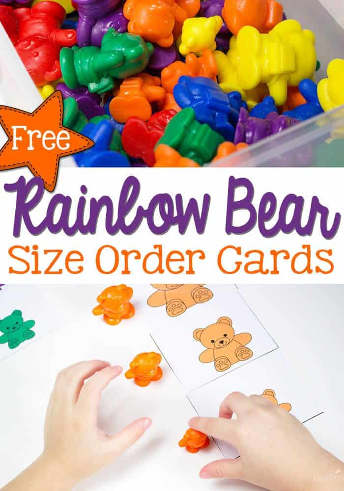 Practice size order with preschoolers using this fun free printable rainbow bear size card set! Sort by colors and compare sizes!