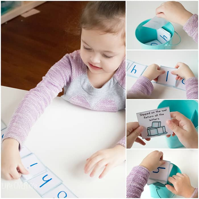 """This customizable name game is sure to be a favorite with your preschoolers! It's such a fun way to learn the letters of their names even before they know what letters are! (Plus """"falling"""" on the ice is so fun!)"""