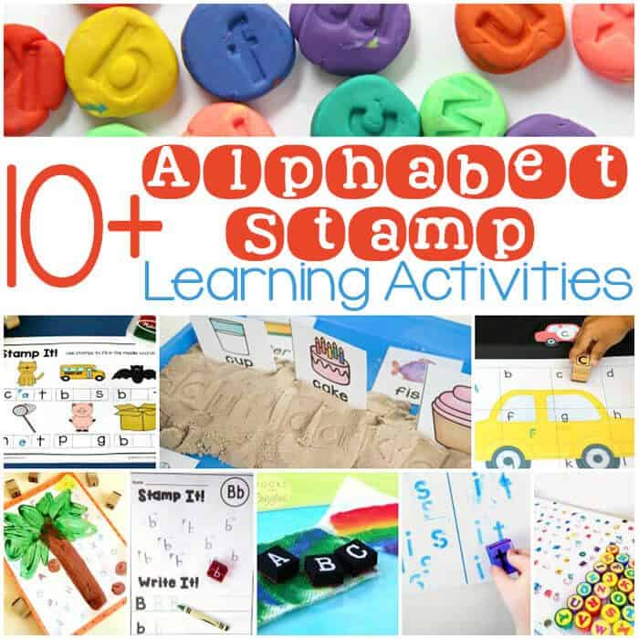 10+ fun learning activities using alphabet stamps! Free printables, fine-motor, alphabet activties and much more!