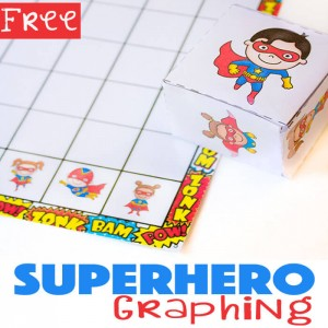 This superhero graphing free printable is a fun way to learn about graphs. You can also use this simple graph to work on counting, greater than/less than, and probability. You'll have a math superhero in no time!