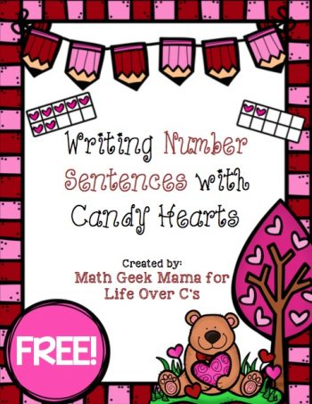 This cute, printable conversation hearts ten frame set is a great way for kids to practice making ten, as well as learning to write number sentences!