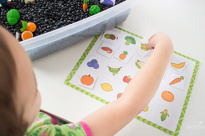 This fruits & vegetables sensory bin hunt is a super fun way to learn about fruits & veggies while working on matching and language skills.