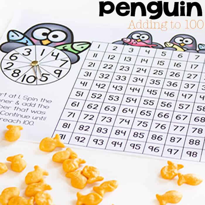 This free printable penguin addition to 100 chart is a great way to get kids practicing the addition facts. Lots of opportunities to learn about regrouping too. It's a different set of addition problems every time you play!