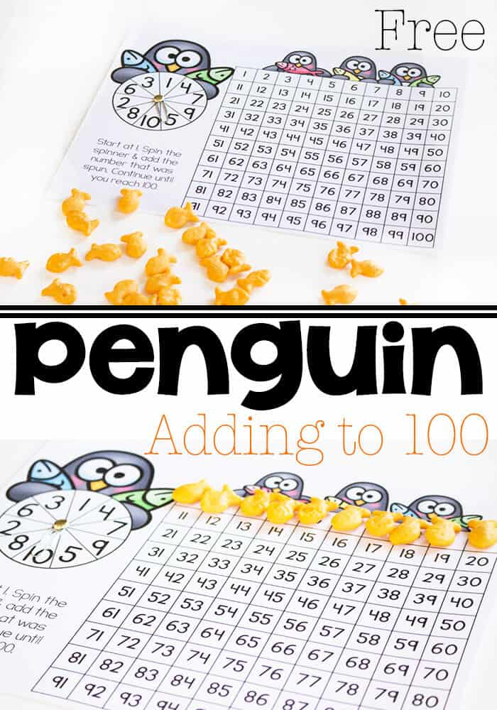 Penguin Addition to 100 with Hundreds Chart