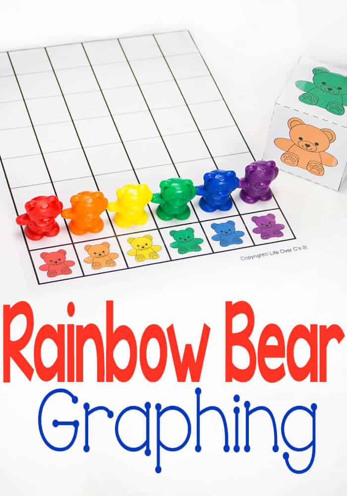 I love this free printable rainbow bear graph from Life Over C's and printable dice too!! Such a fun way to learn about colors and math!