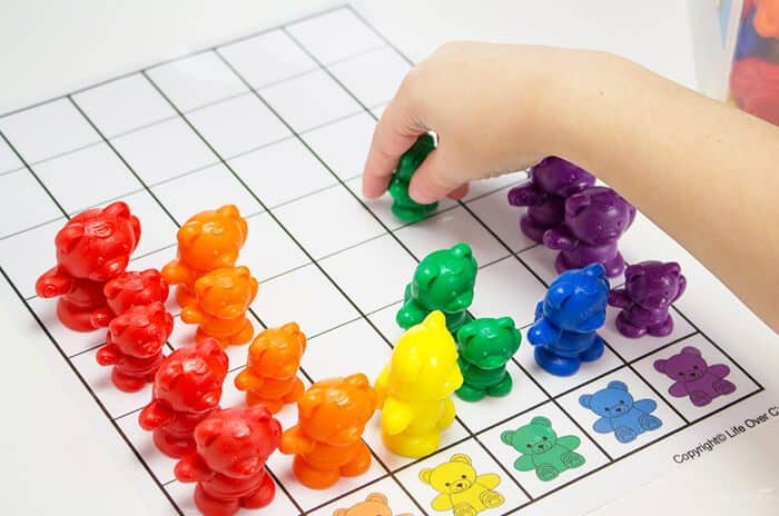 Kids will love graphing with this free printable rainbow bear graph and printable dice!! Such a fun way to learn about colors and math!