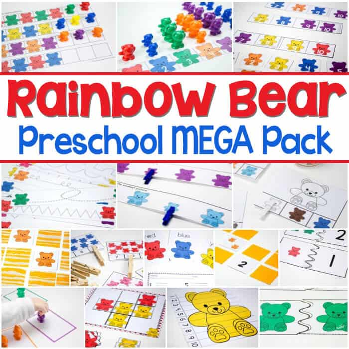 This rainbow bear preschool mega pack has 15+ fun, hands-on activities! Matching, counting to 10, sorting colors, patterns and much more!!! Use rainbow bear counters to add some extra fun!
