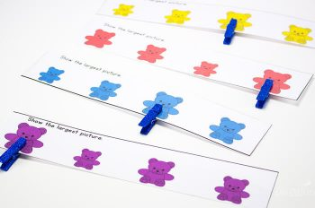 Learn about large and small in this preschool pack for rainbow bear counters.