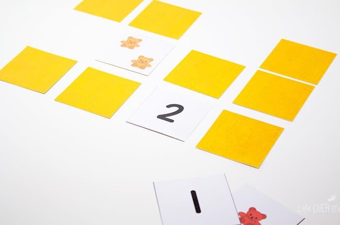 Counting to 10 printable rainbow bear memory game.