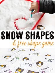 Snow Shapes with Penguin Shape Printable