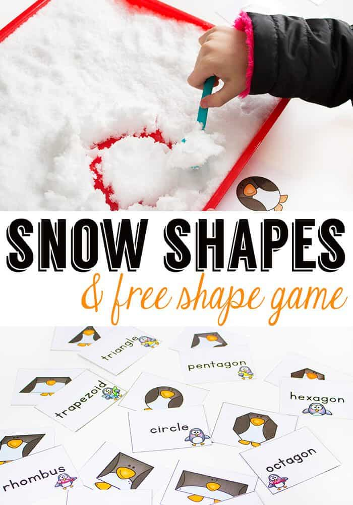 Bring some snow inside for math time and build snow shapes with this fun free printable penguin shape game!