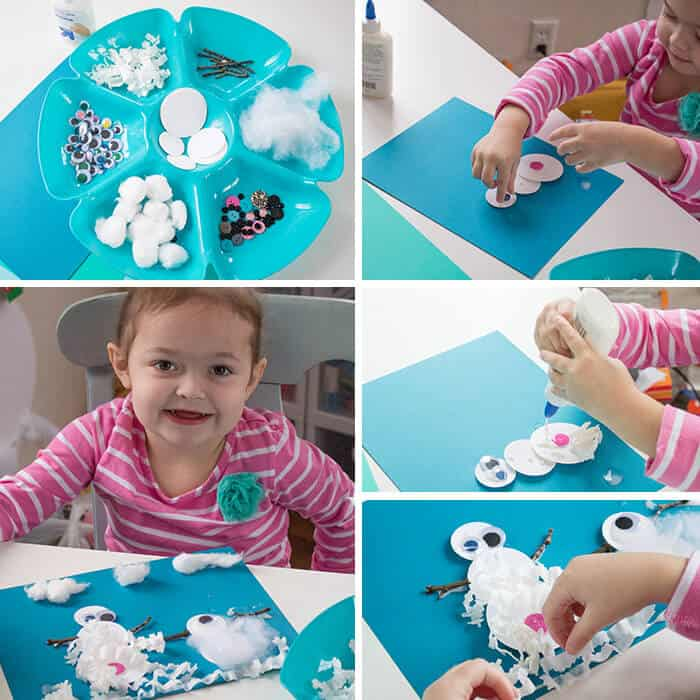 This sense of touch snowman collage was so much fun for my preschooler to create. She loved feeling all the different sensory craft materials.