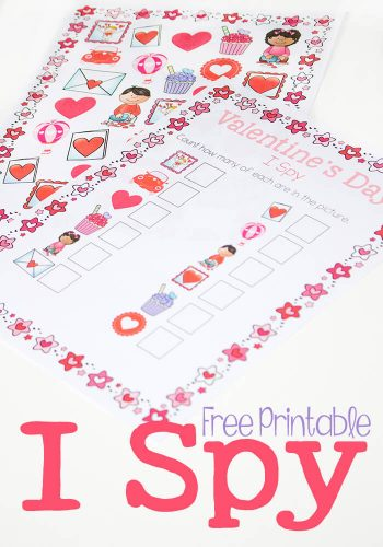 Valentines Day I Spy free printable is perfect for practicing counting in February! Kids love I Spy and don't even realize they are practicing their numbers.