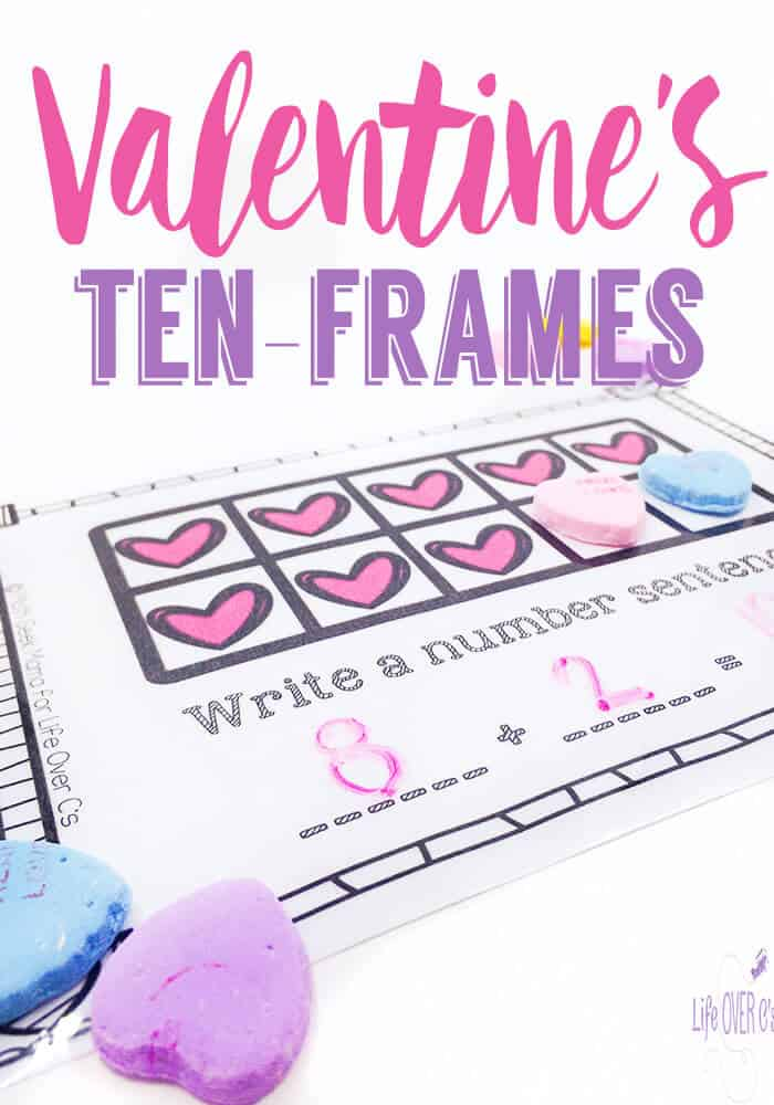 These free printable Valentine Conversation Heart Ten-Frames are great for practicing addition facts! Use number bonds, counting on, and several other strategies while letting the kids play with candy!