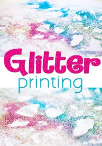 Do you love glitter? This glitter printing project is a fun process art activity for kids (and adults too!) Tips on how NOT to make a mess with glitter too.