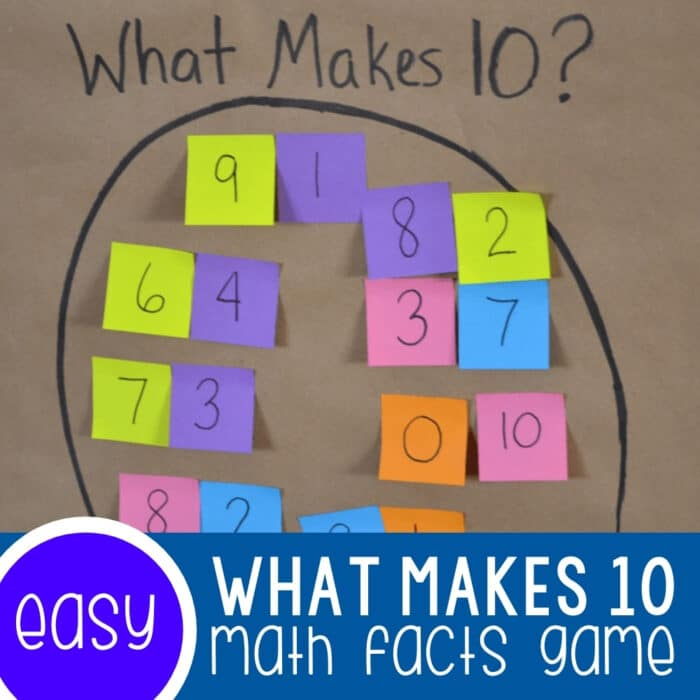 Math Facts Game Make Ten with Sticky Notes Featured Square Image