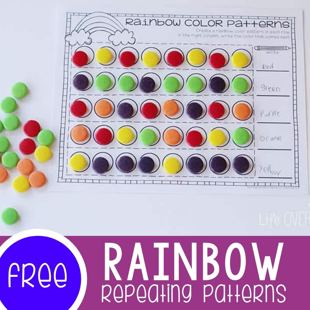 Rainbow Patterns Activity Free Printable Featured Square Image