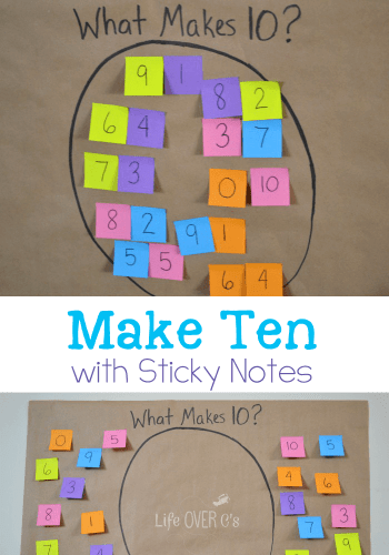 Make Ten with Sticky Notes Math Facts Game