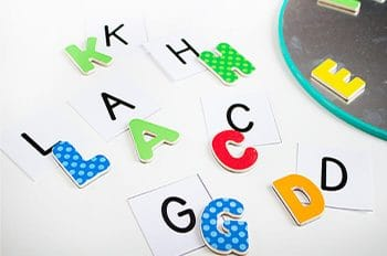 Gather your magnetic letters for a simple alphabet I Spy game! Customize it for names, specific letters or match uppercase letters to lowercase letters.
