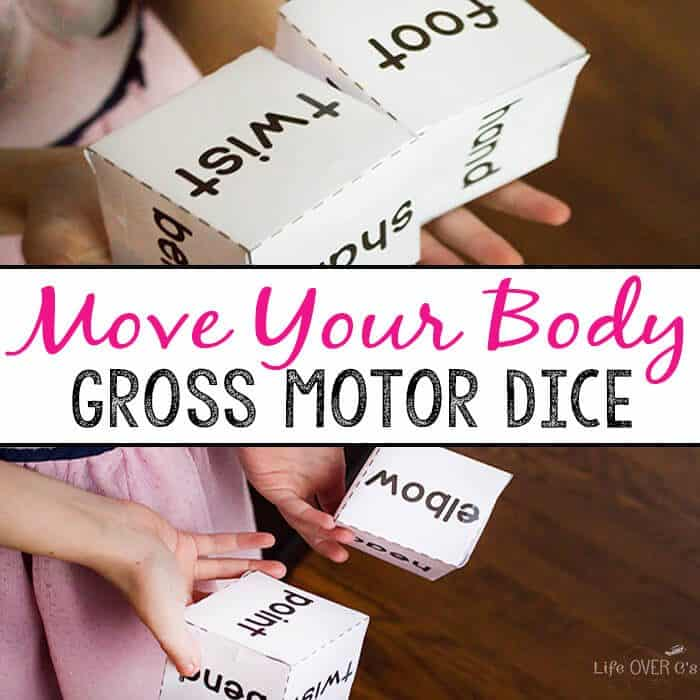 Have fun moving your body with this body gross motor dice game! Great for brain breaks, rainy days or a boredom buster, kids can learn the parts of the body while getting their wiggles out!