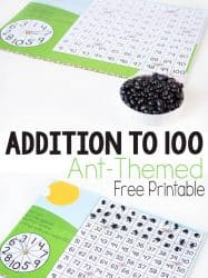 Insect Addition to 100 Free Printable Hundreds Chart