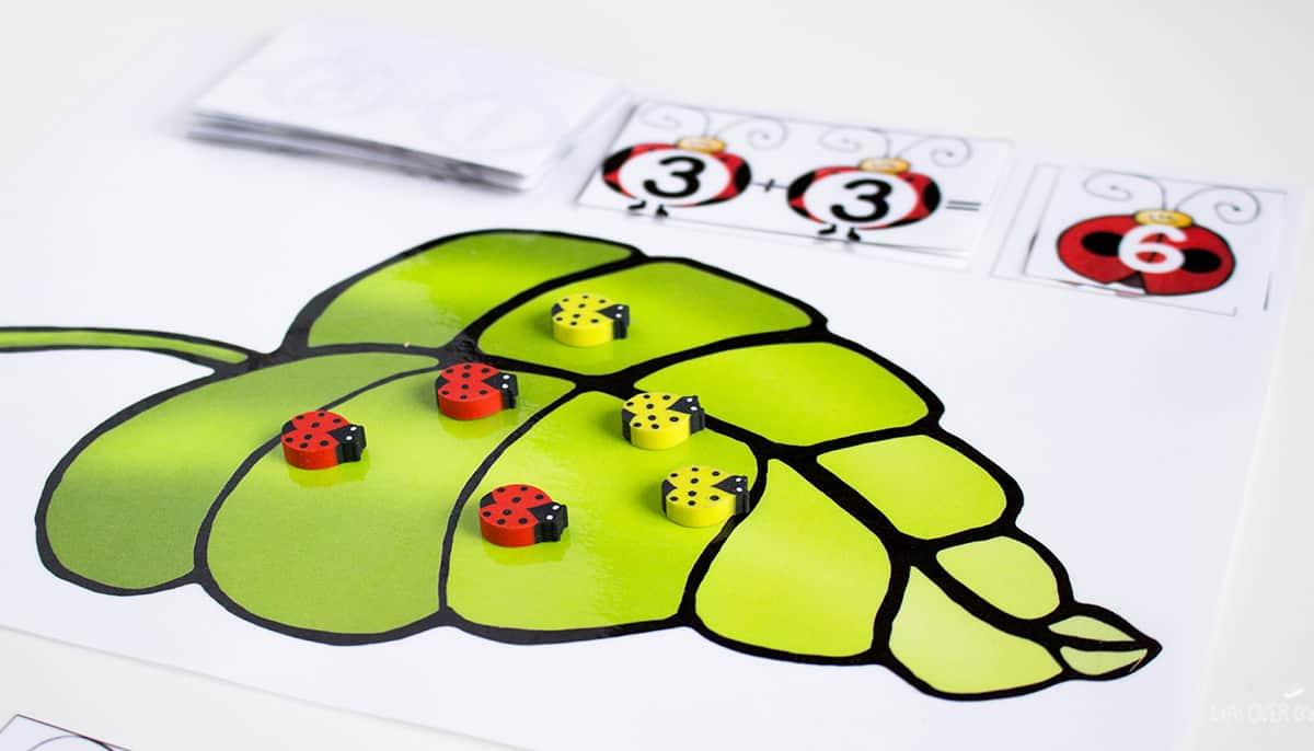 ladybug themed free printable adding to 10 activity