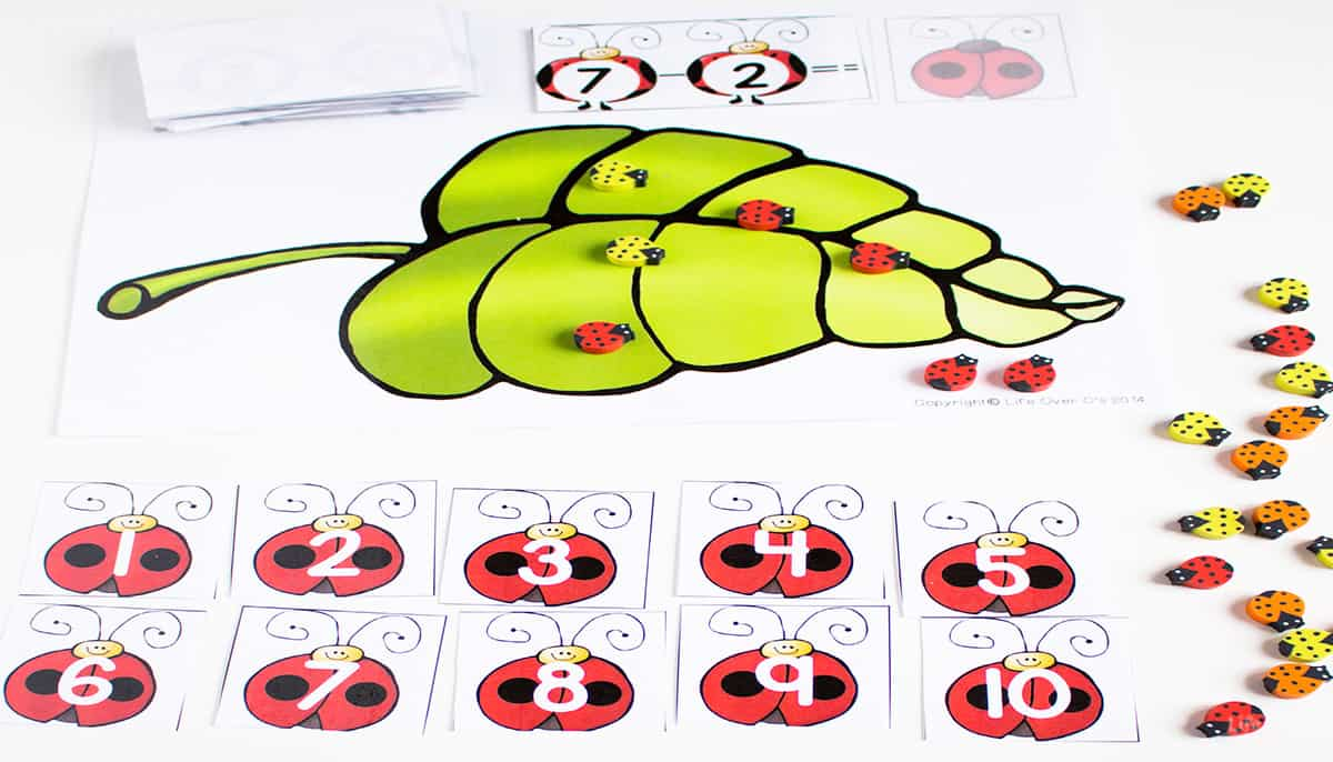 free ladybug printable for subtracting from 10