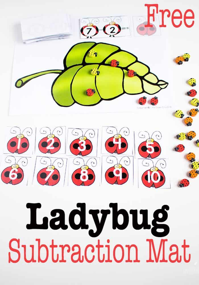 Practice subtraction facts this spring with this adorable ladybug subtraction mat & fact cards!