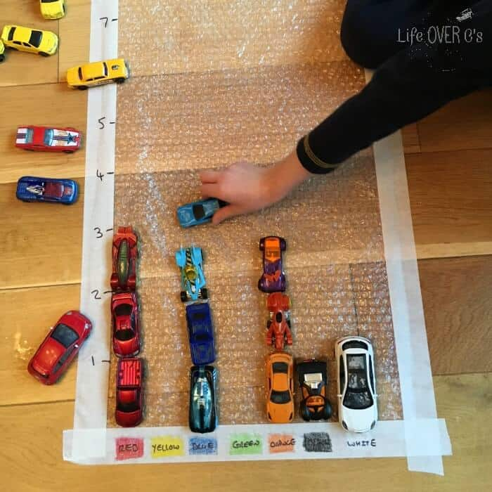 This car graphing bubble wrap activity is a super fun way to learn about graphing!!