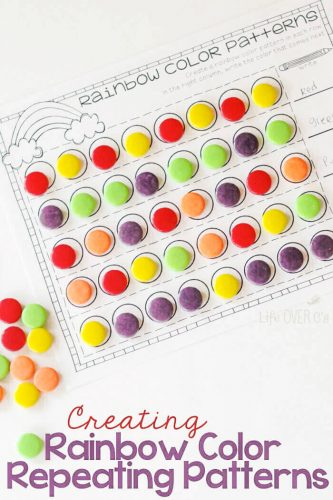 Create rainbow patterns with this fun candy activity!! Practice patterning and have a yummy treat! #patternprintable #mathprintable #rainbowtheme