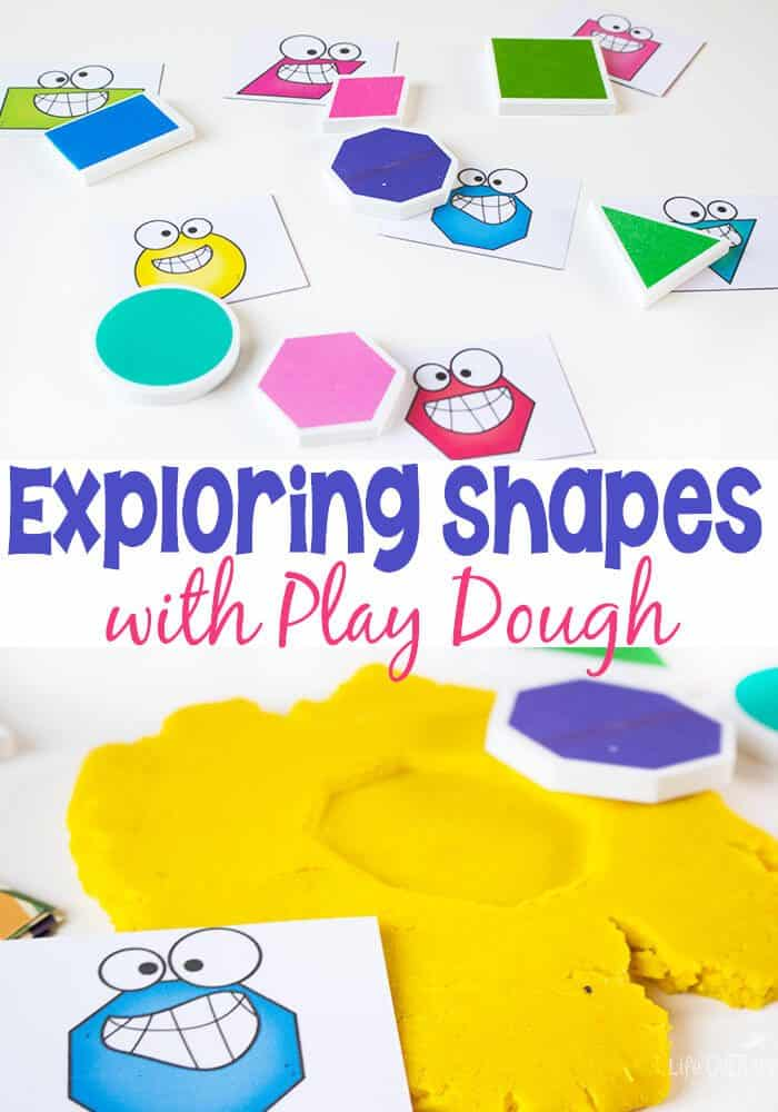 Learn 2 dimensional shapes with play dough and these silly shape cards!