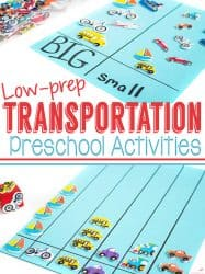 Transportation Theme Preschool Activities