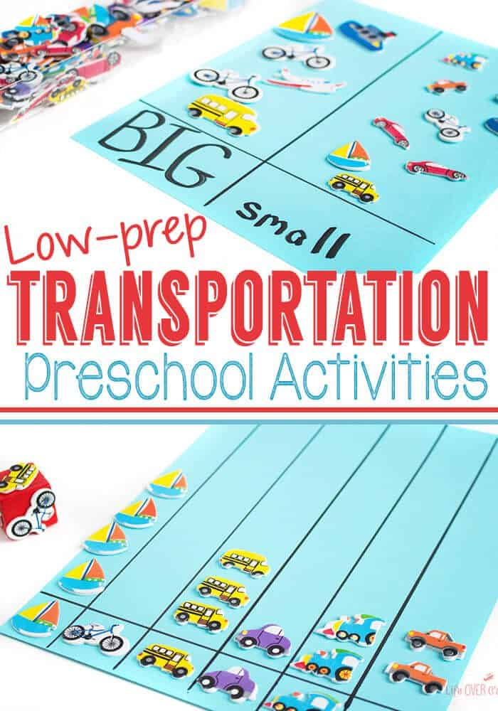 Low-prep transportation theme preschool activities! One pack of stickers=4 activities! Graphing, memory, sorting, language development and more! Plus, some great printables for a transportation theme.