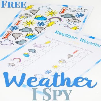 This weather I Spy is perfect for a weather theme or unit! Practice counting skills while learning various weather words!