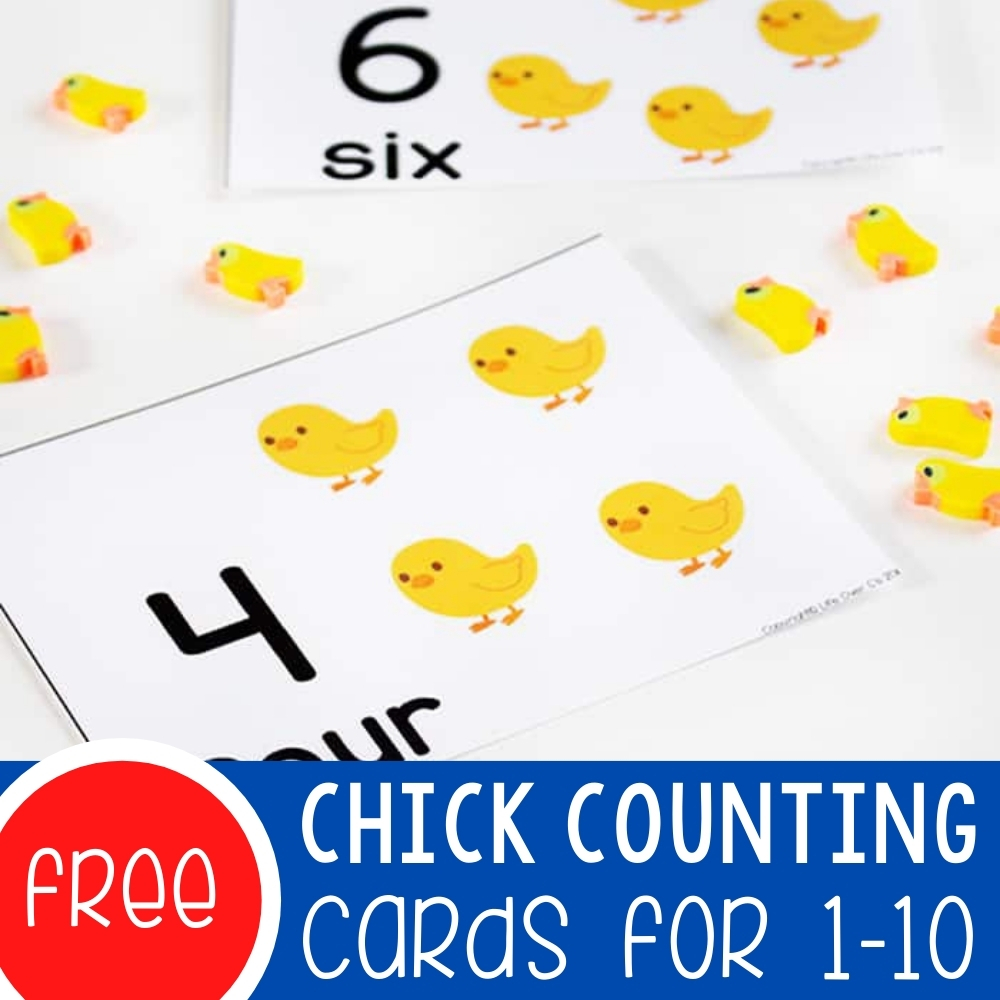 Chick Counting Cards for 1-10 Featured Square Image