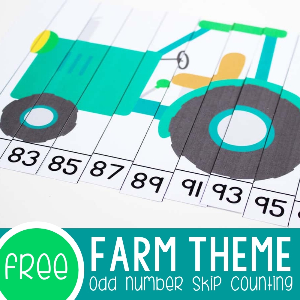 Farm Odd Numbers Skip Counting Puzzles Featured Square Image