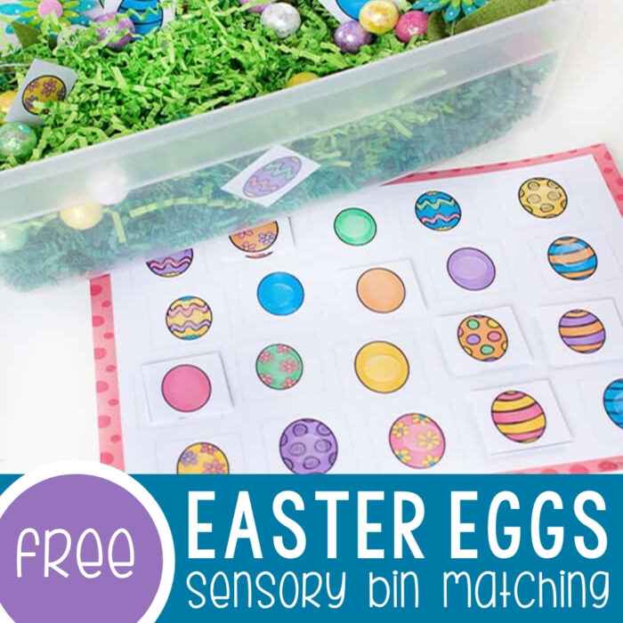 Matching Easter Eggs Sensory Bin Featured Square Image