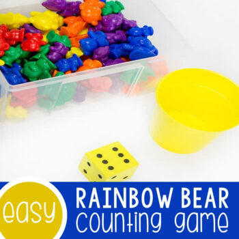 Rainbow Bear Dice Game for Preschoolers Featured Square Image