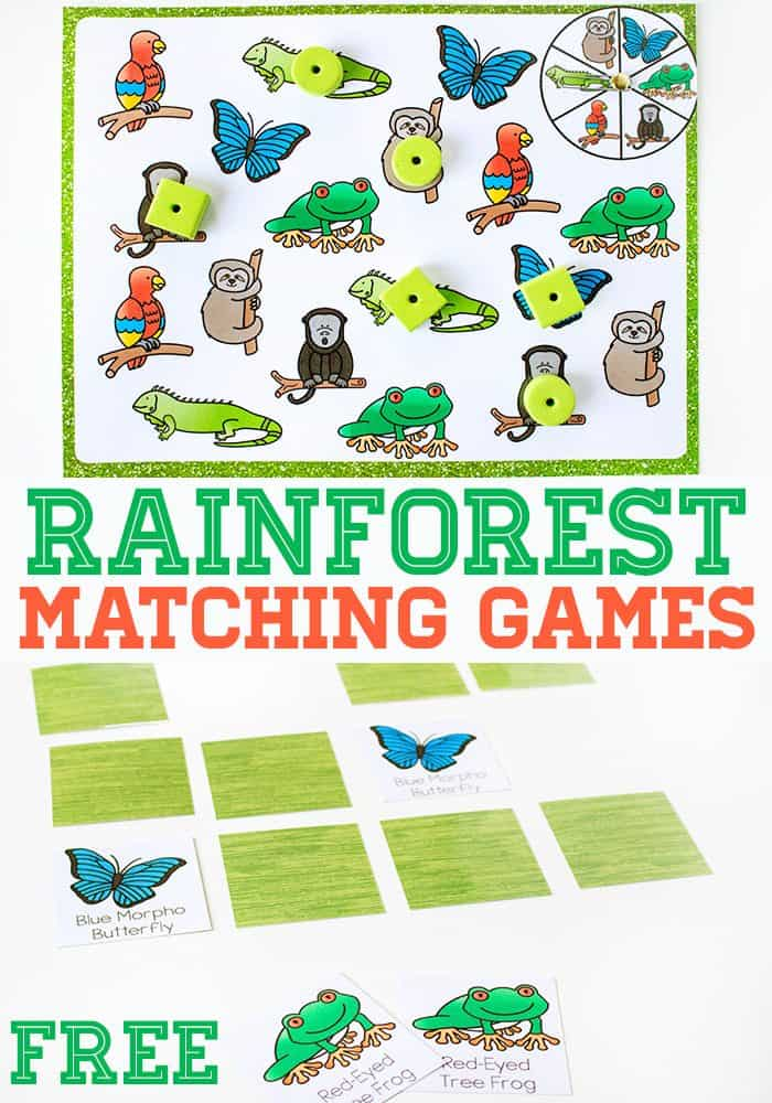 photo relating to Rainforest Printable titled Rainforest Matching Video games for Preschoolers - Lifetime Around Cs